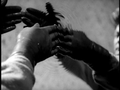 from Orphee - the hands (protected by latex gloves) push through the mirror of mercury.