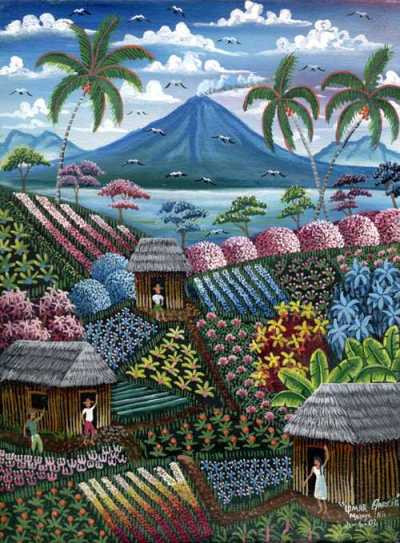 The land of lakes, volcanoes, and sun. A painting I bought on my last trip to Nicaragua.