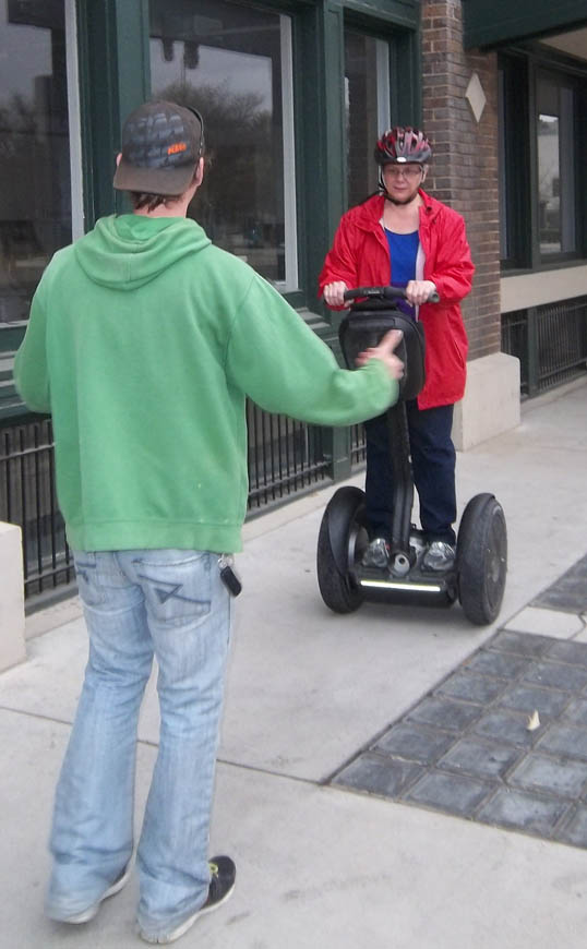Candy getting her Segway Lesson.