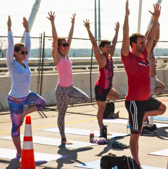 Yoga on the bridge. (click to enlarge)