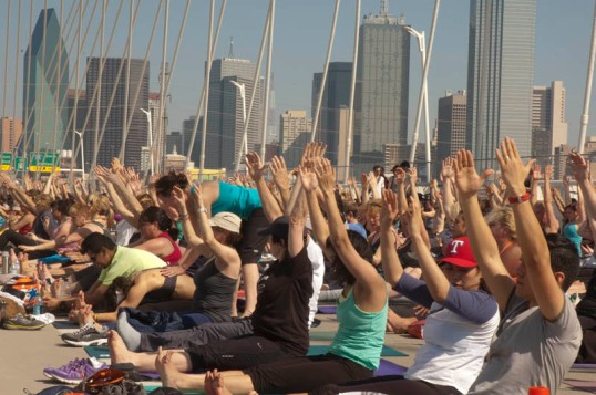 Yoga on the bridge. (click to enlarge)