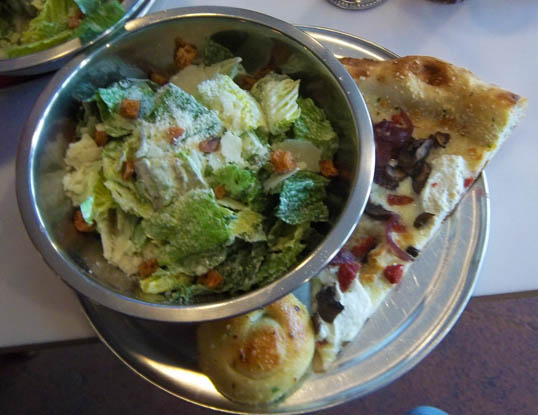 Lunch special at Zoli's - Ceaser Salad, Slice, Knot of Garlic Bread