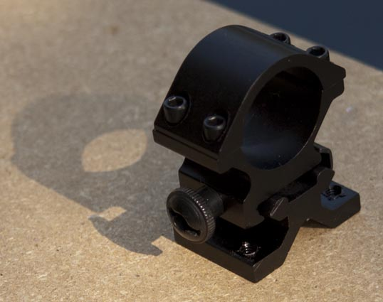 The Picatinny/Weaver rail flashlight mount as it arrived.