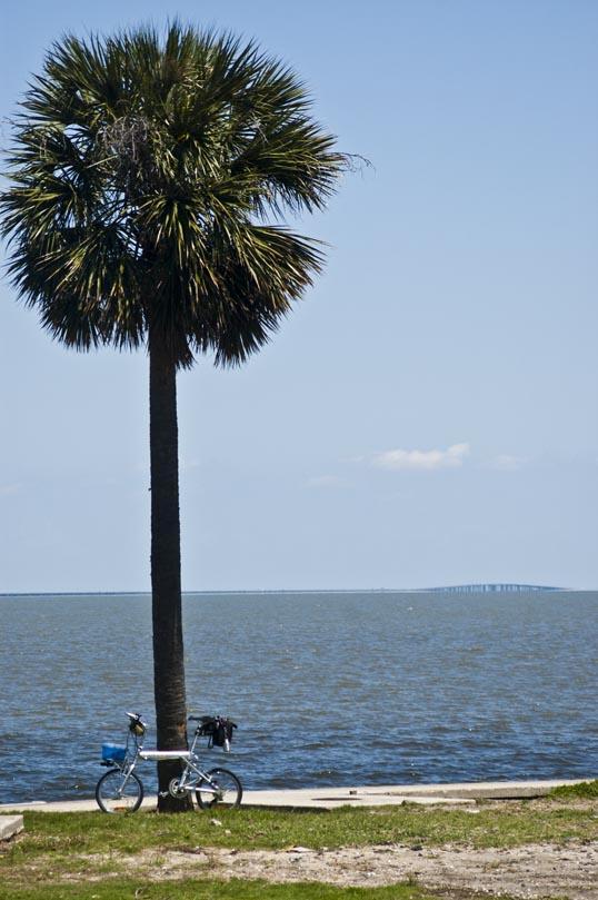 My Xootr Swift along the shore Lake Pontchartrain, New Orlean, Louisiana. You can see the Pontchartrain causeway on the horizon.