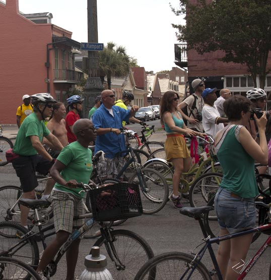 Bicycle Second Line, Pausing on Rampart Street New Orleans, Louisiana