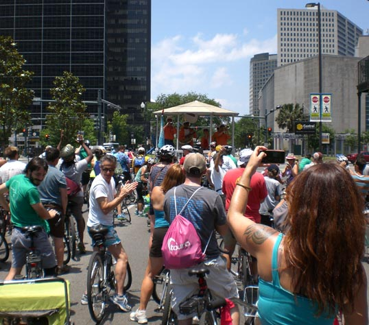 Bicycle second line parade, downtown, Poydras Street. New Orleans, Louisiana