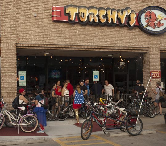 Bikes lining up at Torchy's Tacos - ready for the ride to Kaboom Town.