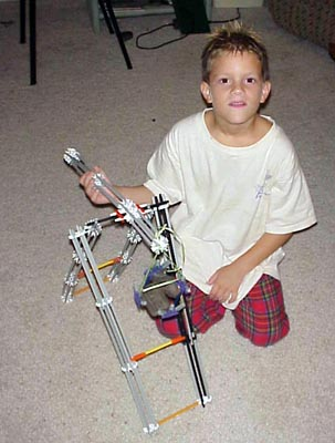 From fifteen years ago or so - Lee and a trebuchet made of Knex