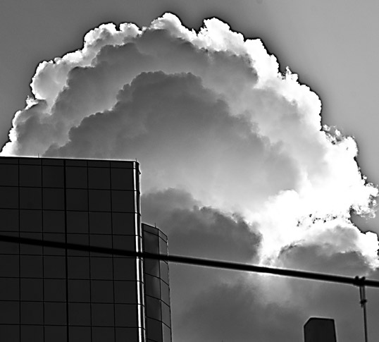 Rising cloud over the Hyatt, downtown Dallas, Texas