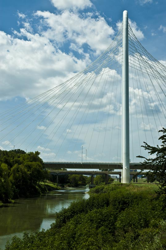 Trinity River and Margaret Hunt Hill Bridge, Dallas, Texas