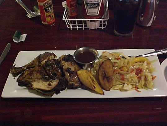 Jerk Chicken, plantains, and vegetables