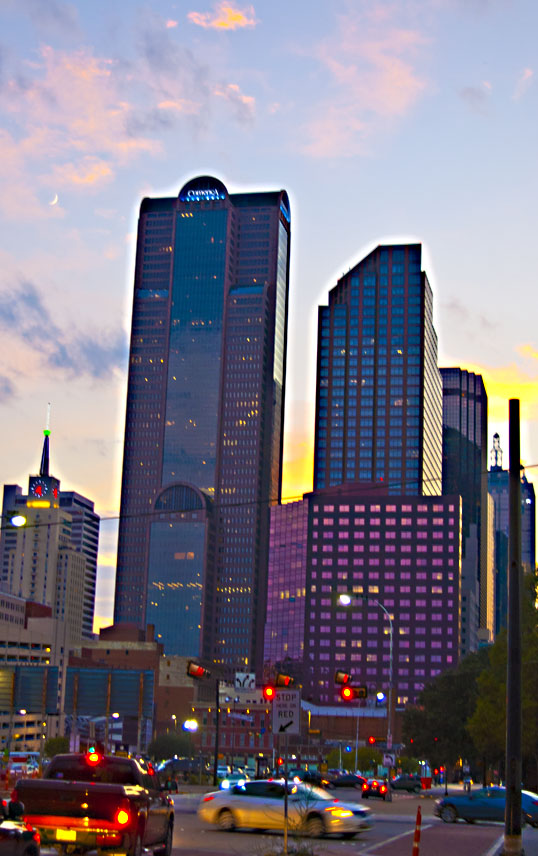 Downtown Dallas at sunset.