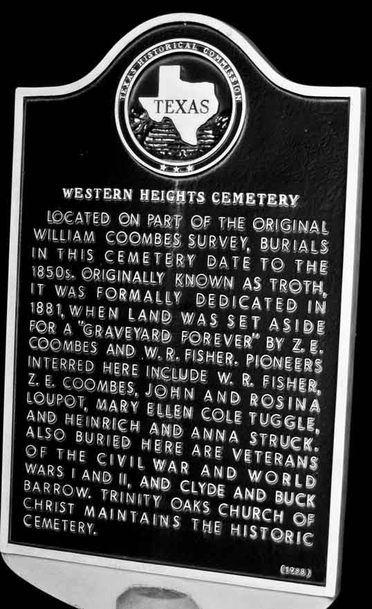 Historical Marker at Western Heights Cemetery Dallas, Texas