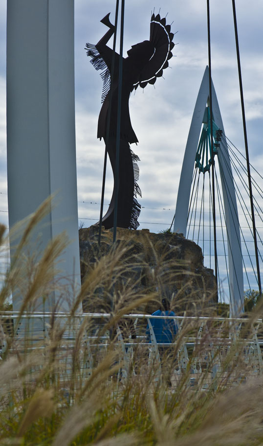 Another view of the Keeper of the Plains sculpture, Wichita, Kansas