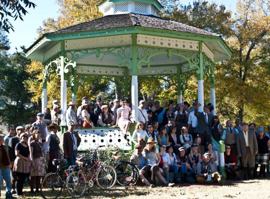 The Dallas Tweed Ride 2014 Posing in Dallas Heritage Village gazebo Dallas, Texas (click to enlarge)