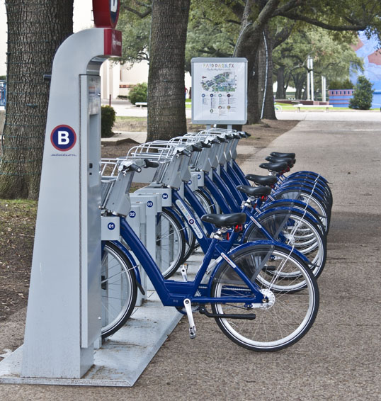 B-Cycle Bike Share stand, Fair Park, Dallas, Texas