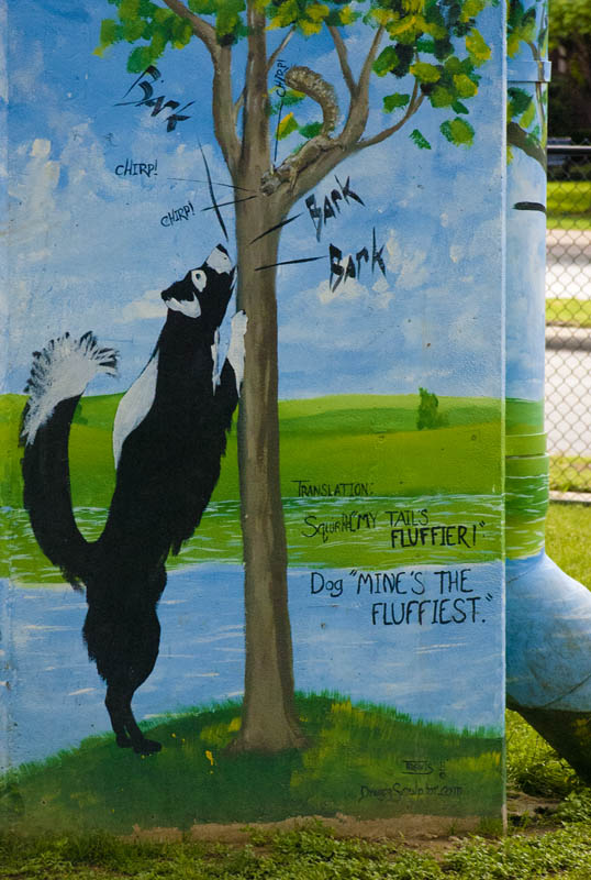 Mural on column at Deep Ellum Dog Park, Dallas, Texas