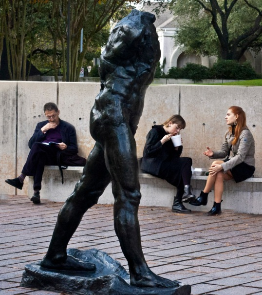(click to enlarge) Rodin Walking Man and fans Houston, Texas