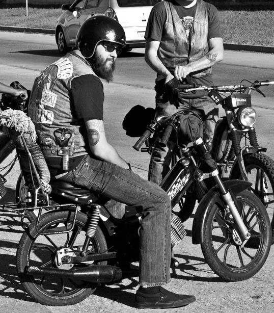 Motorcycle Gang on scooters (where else but) New Orleans, Louisiana