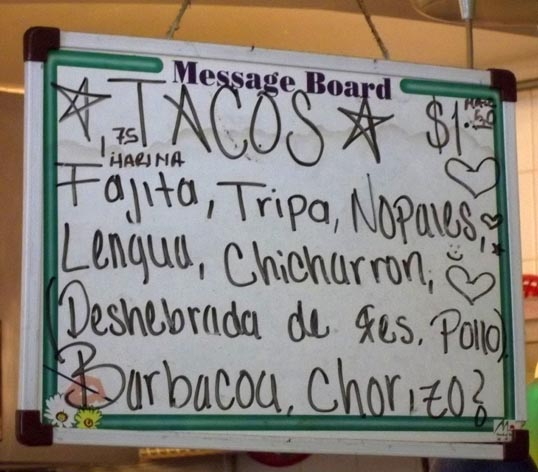 Taco Selections at Taqueria Tiquicheo