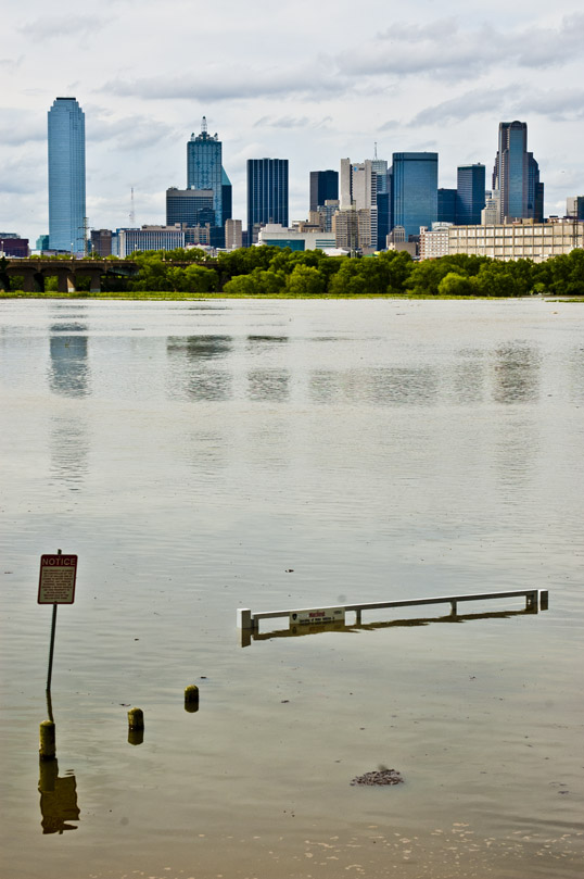 Downtown from the entrance to the Santa Fe Trestle Trail, Dallas, Texas