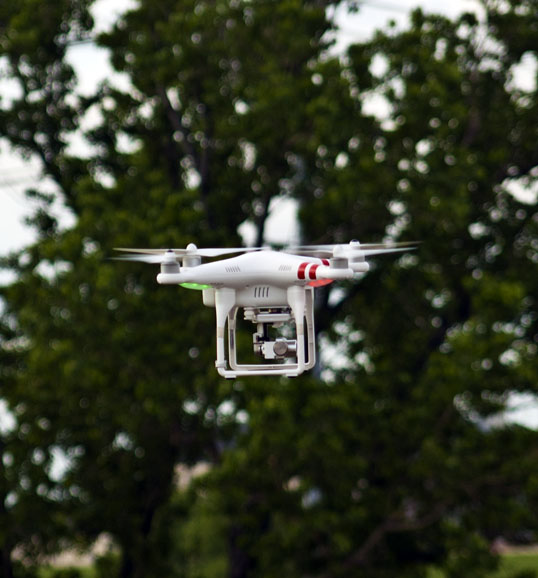 The drone flying off the edge of the Continental Bridge Park, Dallas, Texas