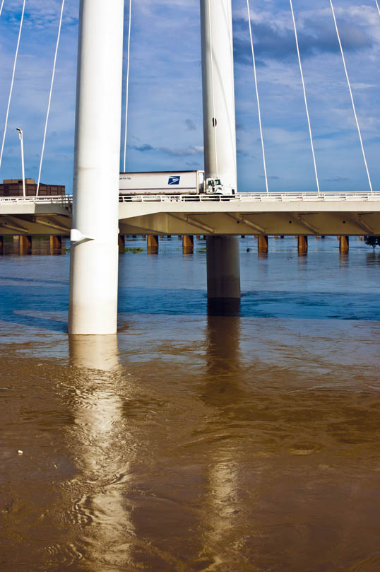 Margaret Hunt Hill Bridge, Trinity River Flood Stage, Dallas, Texas