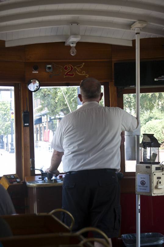 The Conductor driving Betty along McKinney Avenue, Dallas, Texas.