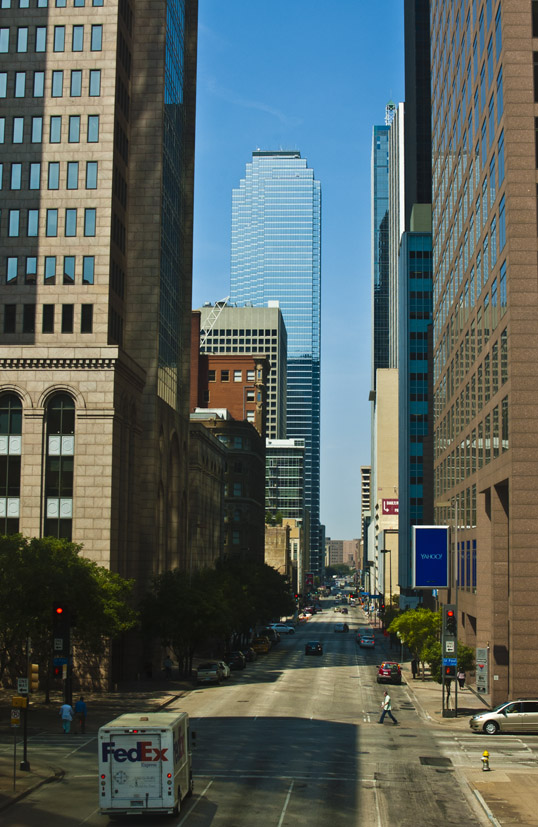 View down Elm Street from walkway, near Harwood.  Downtown Dallas, Texas