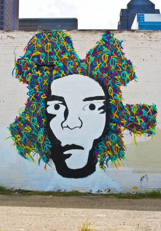 Eric Mancini Mural face of Jean-Michel Basquiat Dallas, Texas