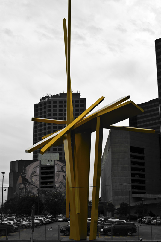 Tatlin's Sentinel John Henry 2001, Yellow Painted Steel Dallas, Texas