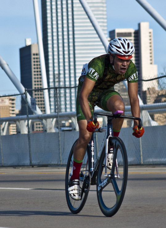 Bicycle Drag Racer on the Margaret Hunt Hill Bridge